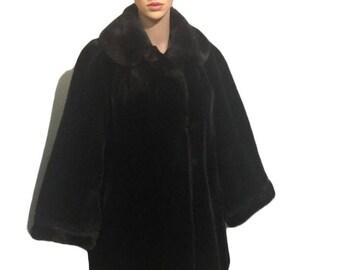 Vintage 1970-80s  Faux Fur Coat / Size 12 / Chocolate Black colored Fur