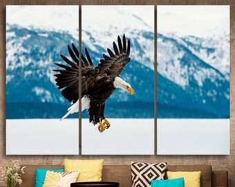 SIBERIAN EAGLE OWL FLYING BIRD CANVAS WALL ART PRINT PICTURE READY TO HANG