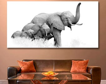 Art Black And White Photo Of Three African Bush Elephants Elephant Canvas Africa Wall Decor Home