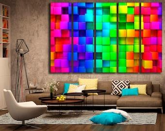 Multicolor Bright Wall Decor 3D Wall Decor 3D Wall Art 3D Canvas 3D Print 3D  Poster