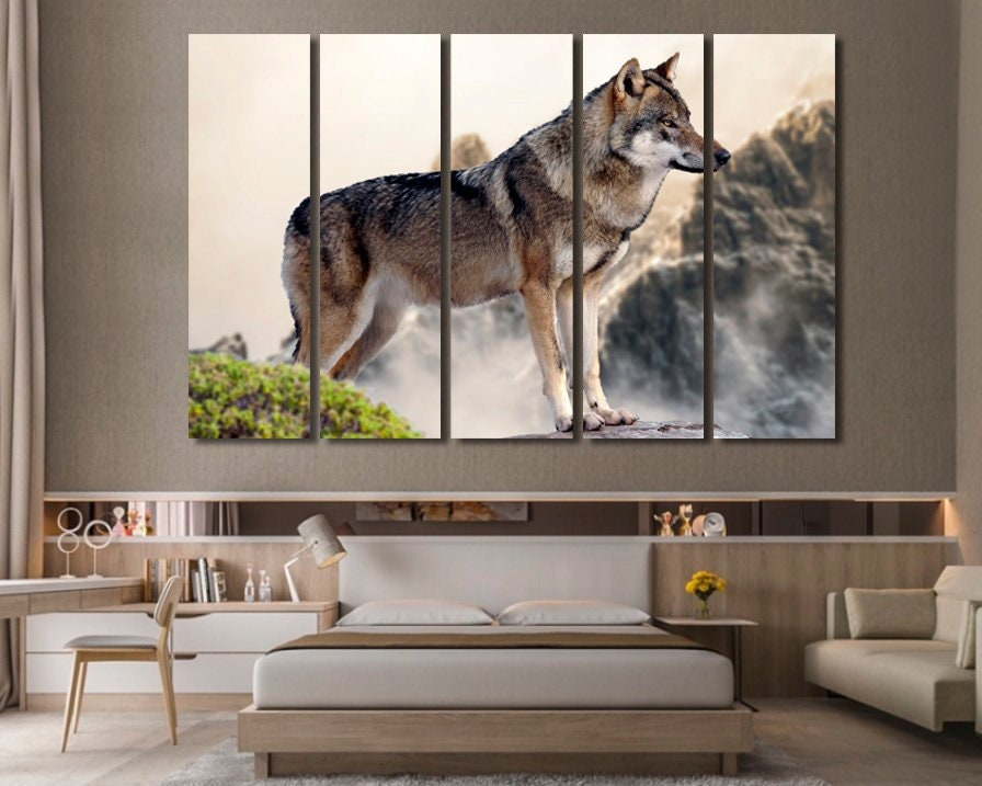 Wolf wall art Wolf wall decor Extra large wall art Extra large | Etsy