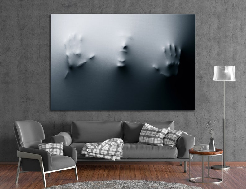 Gray Wall Decor Silhouette of Screaming Man on Fabric Canvas Print Modern Abstract Wall Art BW Canvas