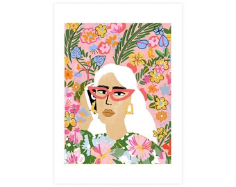 Colourful Plant Lady art print • Fashion lover • Botanical illustration  • Gouache painting • Expressionism art  • Pop Art illustration