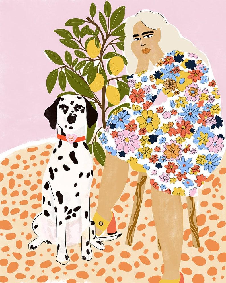 Lady • Art Plant Print And Dog Colourful Poster Lover Artwork Dalmatian Tree Lemon Illustration Gouache 3Rjq5A4LSc
