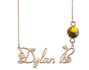 Dylan Name Necklace Gold Necklace Hand Made Gift For Her My Name In Gold Name Tag Gold Jewelry Nameplate Order Any Name