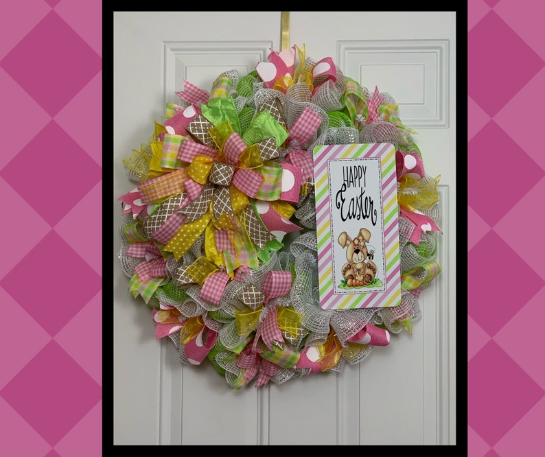 Easter Wreath Home Decor Happy Easter Front Door Wreath Primitive Bunny Religious Sign Easter Bunny Easter Decorations Spring Wreath