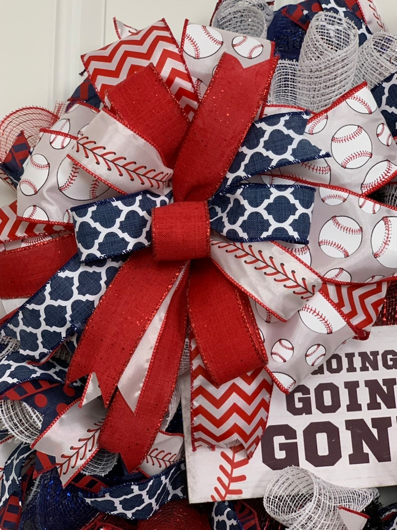 America/'s Pastime Front Door Wreath Sports Decor Baseball Ball Game Wall Decor Year Around Wreath Sports Wreath Home Office Decor