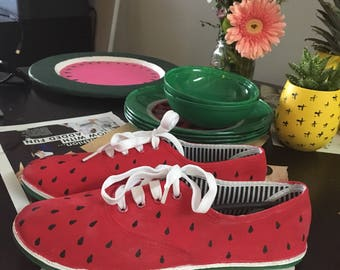 Watermelon shoes handpainted sneakers lace up