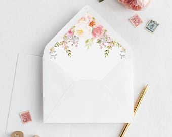 Watercolor Floral Envelope Liner | Printable Envelope Liner | Wedding Envelope Liner | A7 & A6 Envelope Liners | DIY Floral Envelope Liners