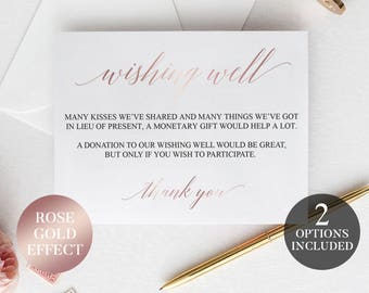 Wishing Well Cards | Rose Gold Printable Wedding Wishing Well | Printable Wishing Well Cards | Pink Wishing Well Poem | Wishing Well Inserts