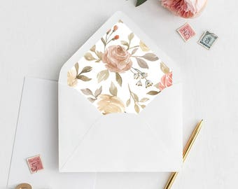 Watercolor Floral Envelope Liner | Printable Envelope Liner | Wedding Envelope Liner | A7 & A6 Envelope Liners | Autumnal Envelope Liners