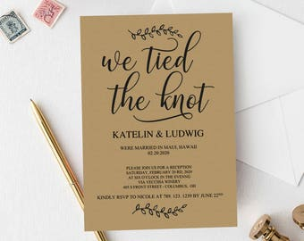 tied the knot invite etsy