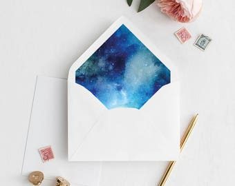 Galaxy Envelope Liner | Printable Envelope Liner | Wedding Envelope Liner | A7 & A6 Envelope Liners | DIY Envelope Liner | Blue Galaxy Liner