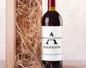 Wedding Wine Label | Printable Wine Label | Monogram Wine Label Template | Wedding Printables | DIY Wine Labels | Personalised Wine Labels