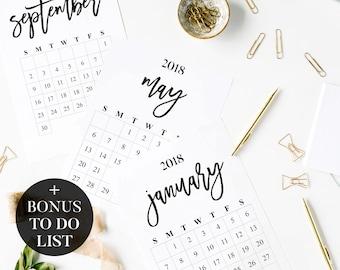 2018 Calendar & To Do List | Printable Calendar | Rustic 2018 Wall Calendar | Printable Desk Calendar | 2018 Calendar Download, Calendar PDF