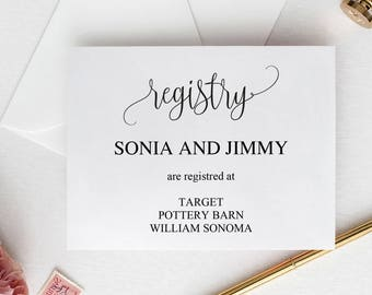 Registry Inserts Etsy - Wedding registry insert template