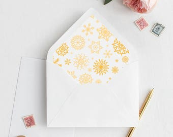 Christmas Envelope Liner | Printable Envelope Liner | Christmas Wedding Envelope Liner | A7 A6 Snow Envelope Liners | Winter Envelope Liners