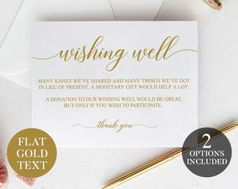 Wishing Well Cards | Gold Printable Wedding Wishing Well | Printable Wishing Well Cards | Gold Wishing Well Poem | Wishing Well Inserts