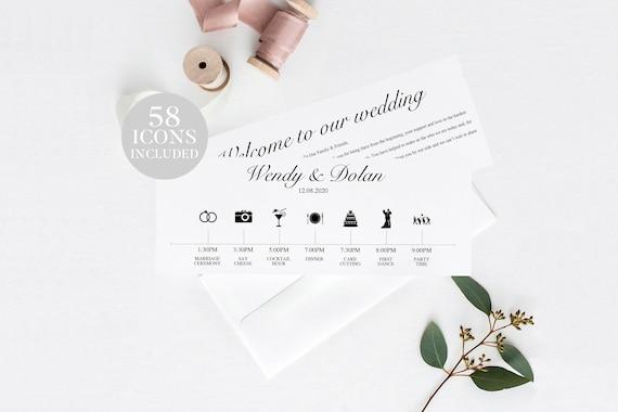 wedding timeline program printable wedding timeline rustic etsy