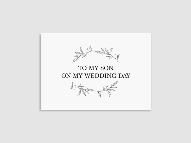 On My Wedding Day Card Wedding Card For Son To My Son Card Printable Thank You Card DIY To My Son Card Printable Wedding Day Card