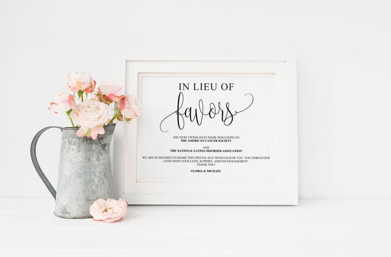 Rustic Charity Decor Personalized Favor Donation Sign Printable Wedding Sign Wedding Donation Sign Calligraphy Lieu of Favors Sign
