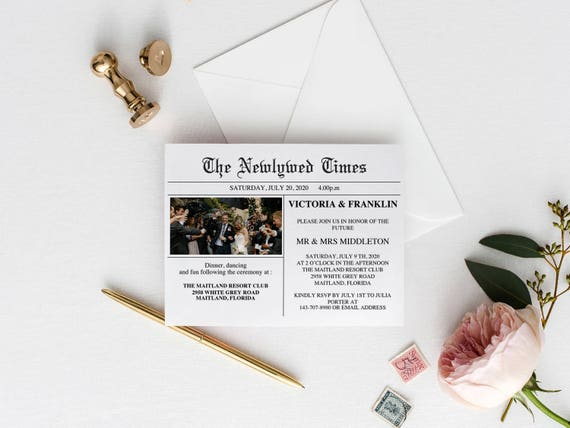 Newspaper Wedding Invitations: Newspaper Wedding Invitation Printable Wedding Invitation