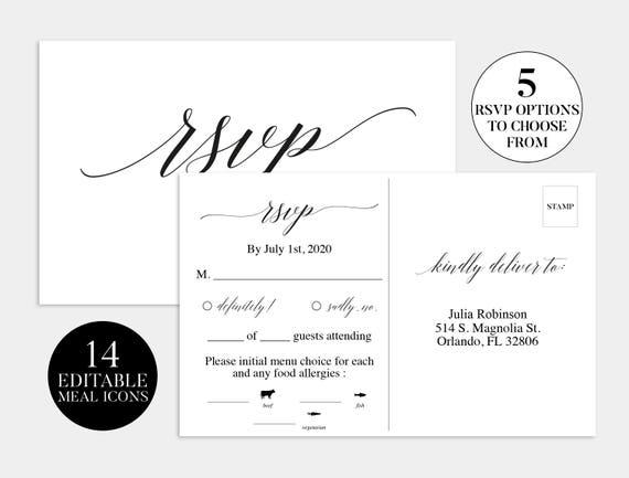 Rsvp Template | Wedding Rsvp Card Wedding Rsvp Template Wedding Rsvp Etsy