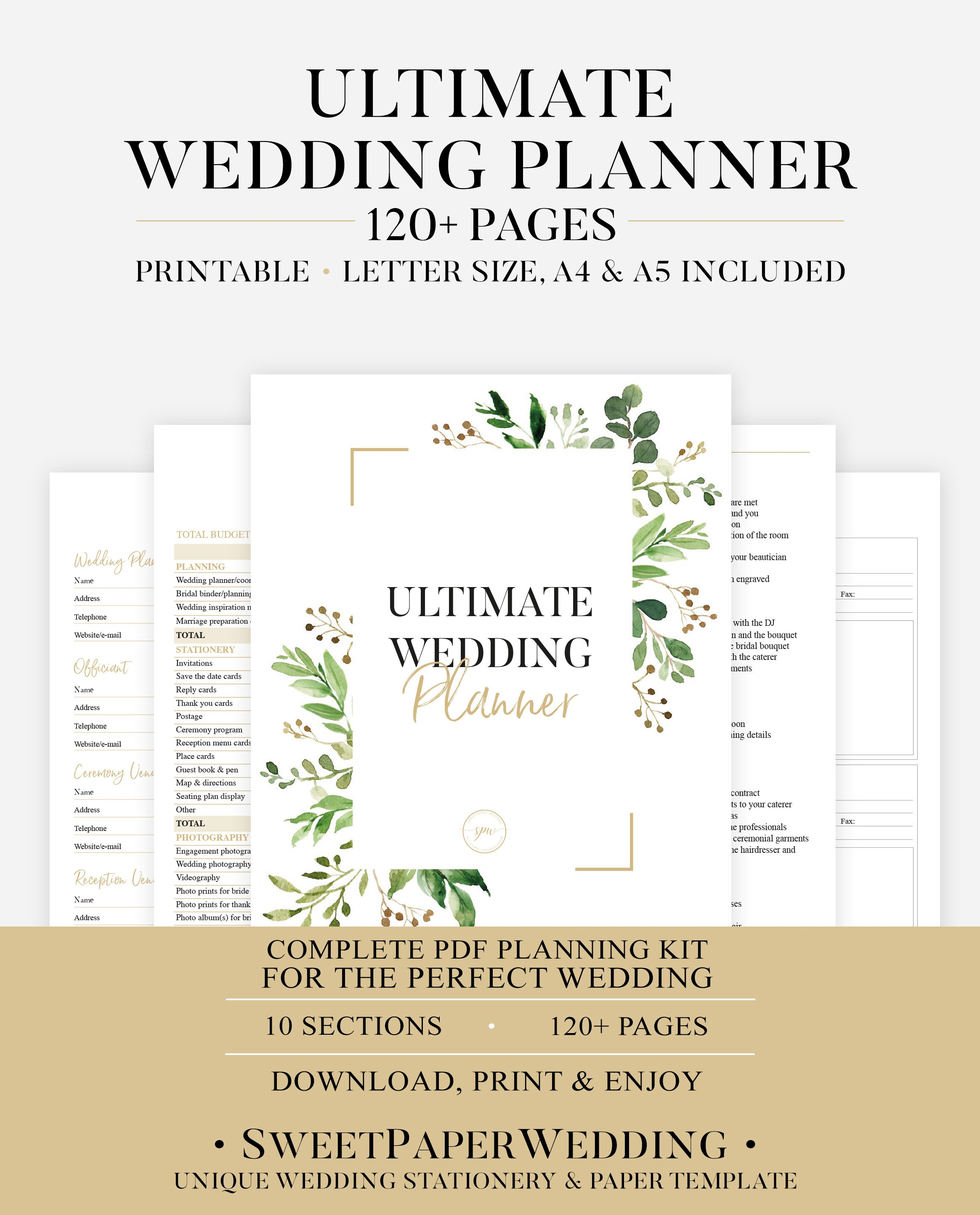 graphic relating to Printable Wedding Planner Pdf referred to as Printable Wedding day Planner Greenery Marriage Organizer Do-it-yourself Printable Planner Wedding day Planner PDF Wedding day Guide PDF Wedding day Inserts