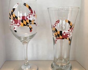 Maryland Crab Gift Set / Husband Wife Gift / Anniversary Gift / Wedding Gift / Maryland Wine Glass / Maryland Beer Pilsner