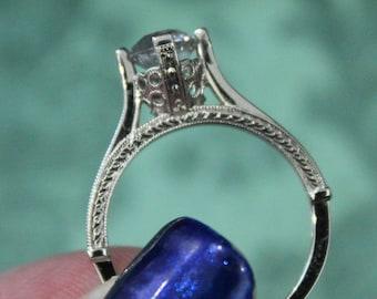Antique Style Unique White Sapphire Engagement Ring
