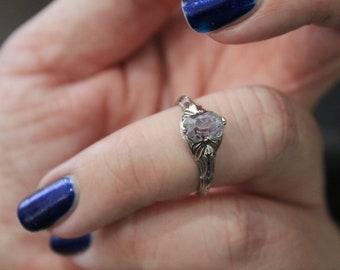 Antique Style Unique Purple Sapphire Art Deco Style Engagement Ring