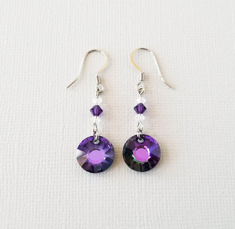 3e4b13a2c99f1 Purple Crystal Earrings, Swarovski Bead Dangles, Sun Pendant Jewelry,  Simple Everyday Earrings, Minimalist Drop Earrings, Birthday Gift
