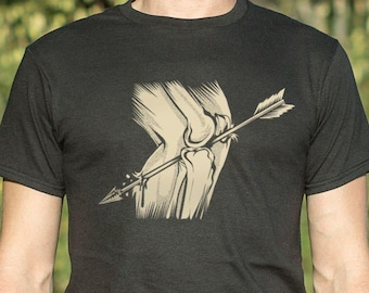 4afe0522 Arrow in the Knee Men's T-Shirt   Funny   Gaming   Gamer   Video Games    Unisex