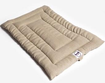Beige Linen Dog Bed Roll Mat