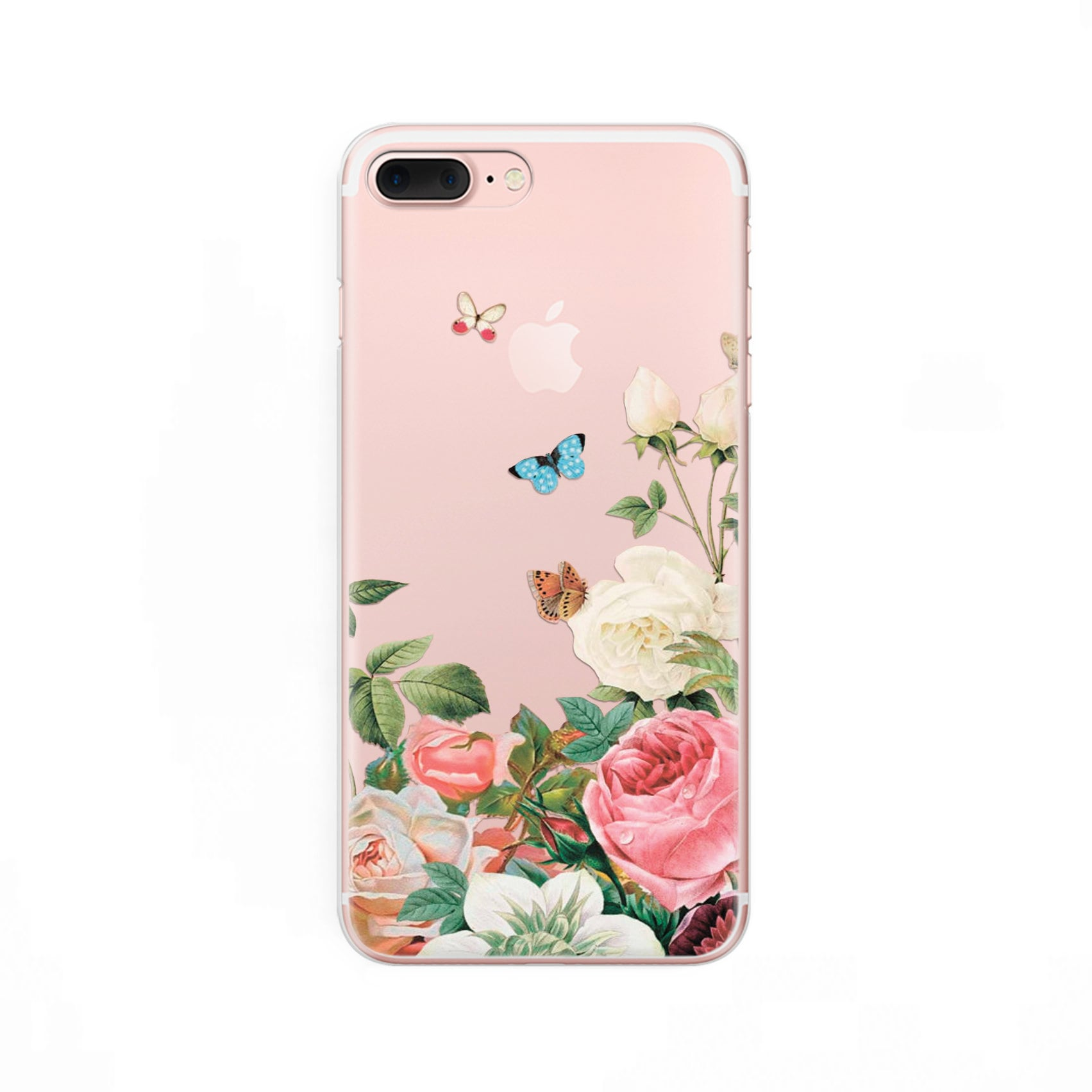 Floral Iphone 8 Case Flowers Iphone 7 Plus Case Slear Iphone X Etsy