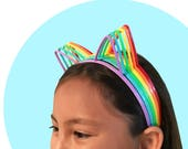 6 Cat Ear Headbands (Rainbow Assortment)