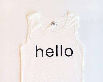 7T Soft White Hello Tank Top