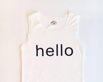 6T Soft White Hello Tank Top