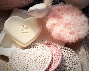 Shower tawashi - Crochet flower - Well-being and Spa - Bath puff - Pink flower -