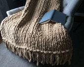 Chunky Knit Fringe Blanket - Tan Vegan Chenille Handknit Throw - Camel Beige Handknit Couch Afghan
