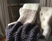 Chunky Knit Ombré Blanket - Vegan Chenille Cozy Throw - Soft Non-Shedding Afghan - Gray and Ivory Gradient Bedding