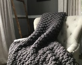 Super Chunky Knit Gray Throw - Soft Cozy Vegan Chenille Handknit Blanket - Charcoal Afghan Bedroom Accents