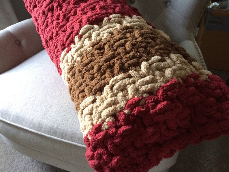 Oversized Bed Pillowcase Khaki and Brown Body Pillow 20x52 Chunky Knit Chenille Cushion Cranberry