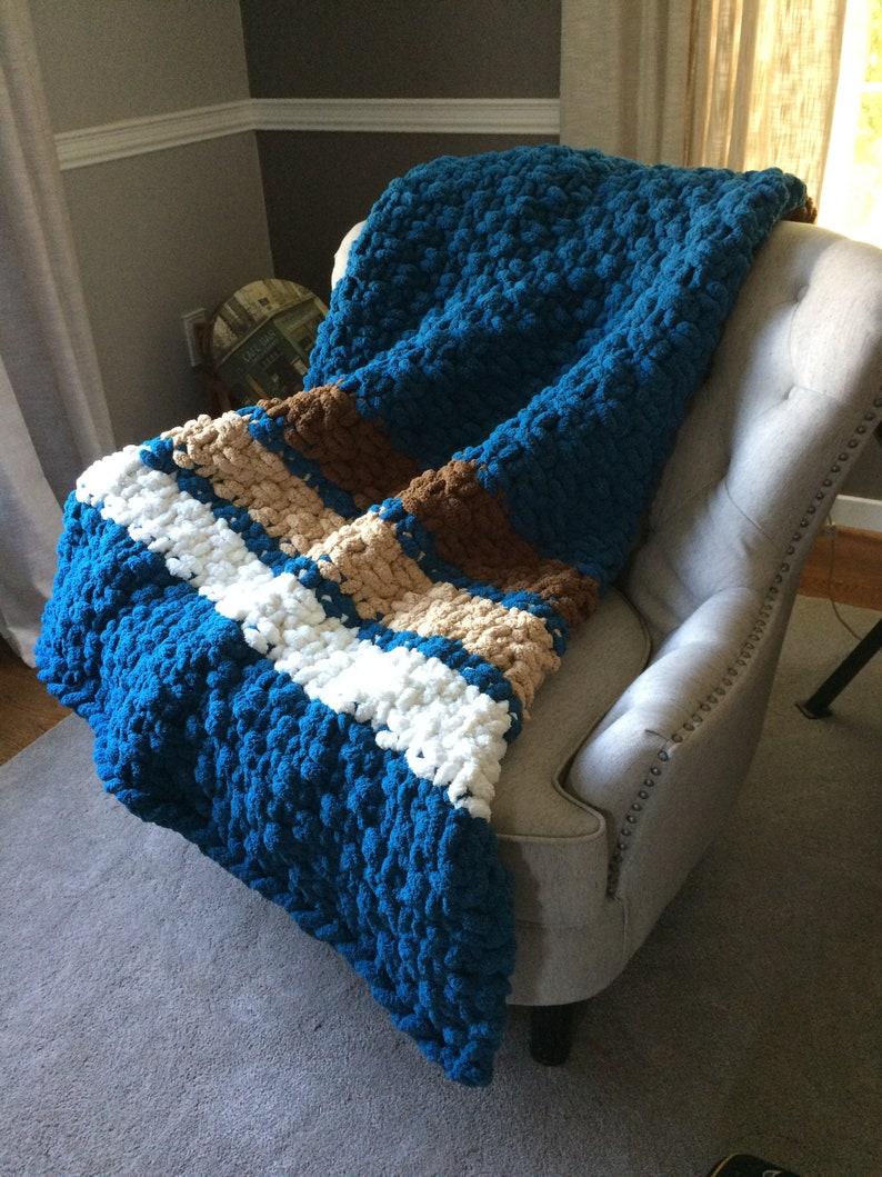 Oversized Handknit Afghan Chunky Knit Teal Striped Blanket Vegan Chenille Soft Cozy Jumbo Throw