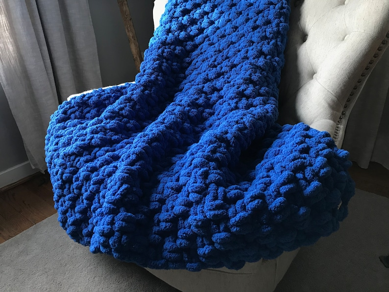 Royal Blue Chunky Knit Blanket Soft Cozy Vegan Chenille Throw Custom University of Kentucky Dorm Decor