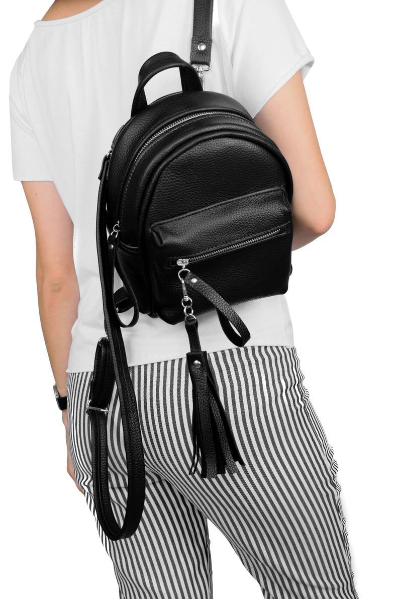bd90d1ad4b04 Black Leather Backpack Leather Backpack Black Mini Backpack