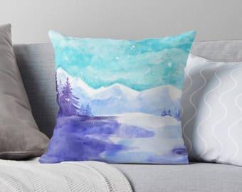 Winter Forest Pillow, Watercolor Forest Pillow, Winter Wonderland Snow, Winter Landscape, Pastel Forest Winter Art, Unique Square Pillow