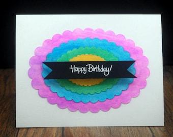 Sparkle Watercolour Happy Birthday Handmade Card