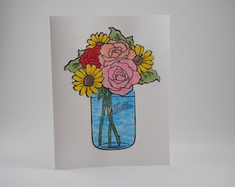 Floral Handmade Card With Envelope