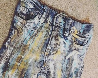 Baby toddler custom distressed splatter paint jeans hand painted grunge blue gold white